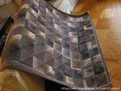 Ravelry: 1063 Mitered Square Afghan pattern by Plymouth Yarn Design Studio Knitted Pouf, Knitted Afghans, Knitted Blankets, Square Blanket, Afghan Blanket, Mitered Square, Plymouth Yarn, Yarn Shop, Plaid
