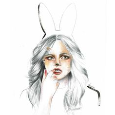 Bunny babe... Exploring acrylic on paper #art #illustration #acrylic #pencil #portrait #bunny #girl #eyes #hair #acrylicpainting #exploring #drawing #painting #ears #bunnyears #lips #babe