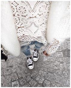 Uniforme des vacances : gilet doudou, Jean boyfriend & Converse! • Knit #junebrussels (from @junebrussels) • Lace Top #bashparis (from @bashparis) • Jean #levis (from @levis_fr) • Sneakers #converse (old) ...