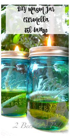 DIY Mason Jar Citronella Oil Lamp