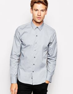 Replay Shirt Slim Fit Stretch Poplin
