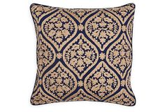 Damask Cotton Pillow, Navy | Downstairs | One Kings Lane