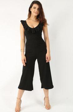 Frill Black Culotte Jumpsuit