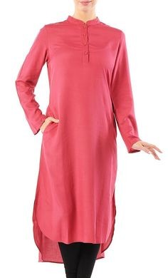 Comfortable Rayon Tunic_As Pictured (Out of stock)_Front_View Kaftan Style, Modest Wear, Embroidered Tunic, Cotton Tunics, Mandarin Collar, Long Hoodie, Casual Wear, Shirt Style, Tunic Tops
