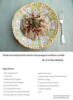 Golden Axe braised fennel risotto  By Jo of Secondhelping  - for method head to the link.. happy cooking