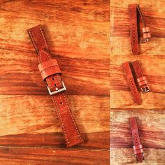 Vintage distressed belt leather  20-16mm tapered watch strap from 922Leather.com #timezonetweets #watchuseek #techsew #leatherwatchstrap #womw #distressedleather
