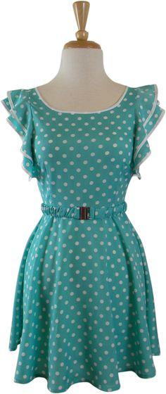 Polka-dot Ruffle Dress (Aqua)