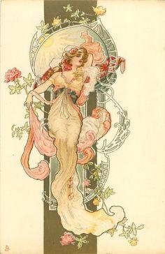 Ideas Art Deco Woman Illustration Alphonse Mucha For 2019 Art Nouveau Tattoo, Tatuaje Art Nouveau, Art Nouveau Mucha, Alphonse Mucha Art, Art Nouveau Poster, Poster Art, Poster Prints, Design Art Nouveau, Art Design