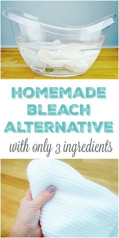 3 Ingredient Homemade Bleach Alternative / Whitening Solution - water, washing soda, and hydrogen peroxide. Great for cleaning all whites such as towels, bed sheets, more without harmful chemicals that can ruin your clothes and linens! Deep Cleaning Tips, House Cleaning Tips, Natural Cleaning Products, Cleaning Solutions, Spring Cleaning, Cleaning Hacks, Diy Hacks, Cleaning Recipes, Green Cleaning