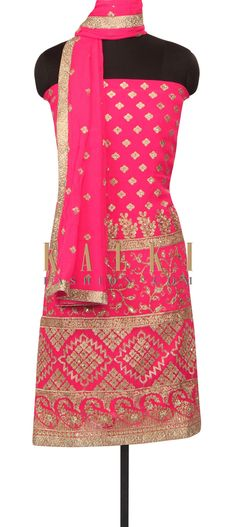 Pink omber unstitched suit in zari embroidery only on Kalki