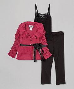 Look at this #zulilyfind! Magenta & Black Ruffle Pants Set - Toddler & Girls #zulilyfinds