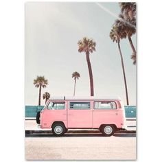 Sunnyhome Pink&Beachy Canvas Wall Pictures - Bus / 13 x 18cm