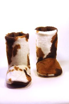 Baby Boots  Cow Faux Fur The Farmer by yieldedtosew on Etsy, $30.00