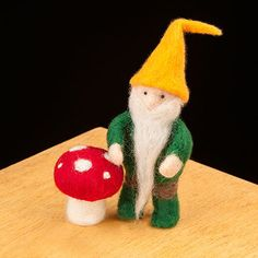 WoolPets Gnome needlefelting kit. Learn the art of sculptural needle felting! Kit includes felting needles, wool roving, and step by step photo instructions that make this craft a snap. Kit makes one