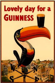 ArtbyJean - Vintage Clip Art: Guiness Extra Stout - Vintage art on advertising poster prints Old Posters, Posters Vintage, Vintage Advertising Posters, Vintage Advertisements, Vintage Ads, Vintage Clip, Guerrilla Advertising, Retro Ads, Vintage Images