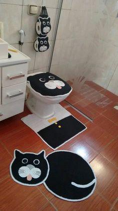 Jogo de banheiro crochê gatinho preto