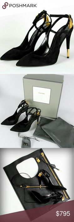 Tom Ford Padlock Black Slingback Suede Heels New with Box! Tom Ford Shoes Heels