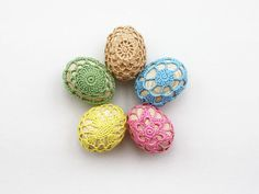 Five 5 Easter eggs Fridge magnets set Beige blue pink yellow green Covered in lace wooden kitchen decor Cottage chic by boorashka