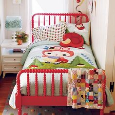 Kids Red Spindle Jenny Lind Bed in Beds
