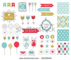 Big set of romantic and cute vector elements for cards and stickers. Love theme design. For wedding, anniversary, birthday, Valentine's day, party invitations, scrapbooking. Vector illustration.