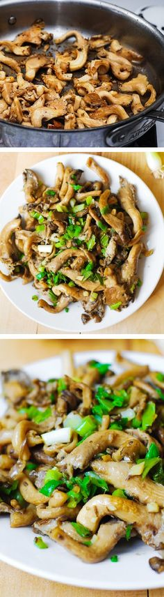 Oyster mushrooms sauteed in olive oil with garlic, and topped with green onions. Great as side dish to grilled meats, or to be mixed with pasta. Healthy, vegetarian, vegan, gluten-free, paleo-friendly recipe.