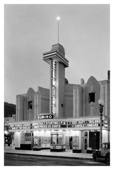 The El Miro Theatre, located at 1441 3rd Street in Santa Monica (1934). The façade is still there, though the interior was razed to make way for what is now the AMC Loew's Broadway 4 multiplex, and 3rd Street is now the Promenade.