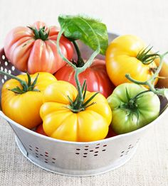 Heirloom tomatoes-would love to have a bowl like this on my counter right now!