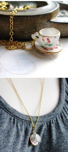 Tiny Porcelain Tea Cup Necklace