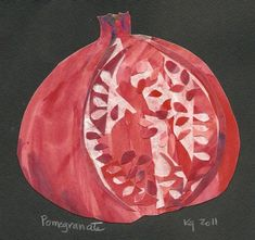 painted and cut paper collage - pomegranate