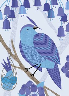 blue bower print by Hilary Bird on etsy $15.00. -with blueberries