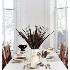 pheasant feather centerpiece for Thanksgiving