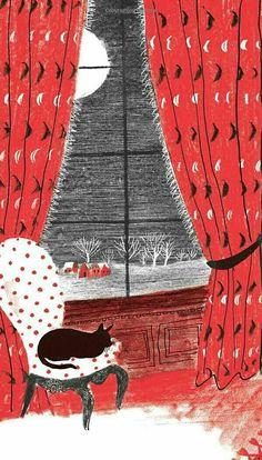 Cat illustration by Roger Antoine Duvoisin Art And Illustration, Christmas Illustration, Illustrations Posters, Vintage Christmas Cards, Christmas Cats, Xmas, Roger Duvoisin, Jean Giraud, Beatrix Potter