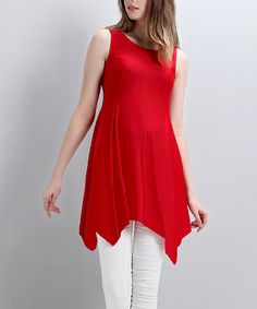 Look at this Red Handkerchief Tunic on #zulily today!