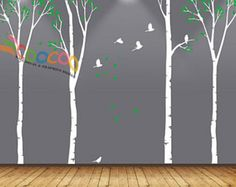 Wall decals are currently one of the hottest trends in home decor. It is one of the most easy ways to add a special touch to any living room, nursery, or bedroom.  Item Details: Item number: DC0206 2 color 90 High Default colors: BLACK trunks, birds, and quote LIME TREE GREEN leaves.  Whats included: 3 trees with leaves, 6 birds, one quote, with some extra fallen leaves (instructions are included with every order for assembly)  ***I do have 96H, 90H, 72H designs for sale, please check my…