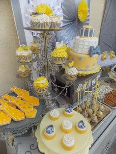 Gray and yellow baby shower