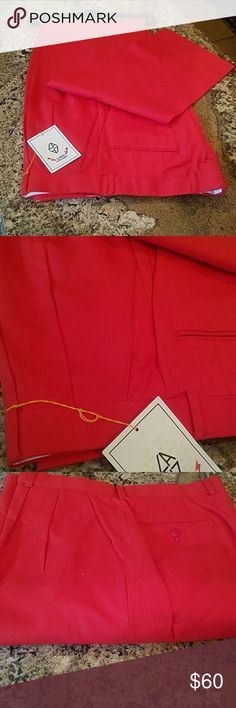 Men's linen/cotton trousers Men's red linen/cotton trousers  Size 36 Unfinished bottoms Loris azzaro Pants
