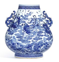 vase ||| sotheby's AN EXTREMELY FINE AND RARE LARGE BLUE AND WHITE 'EIGHT IMMORTALS' VASE, HU SEAL MARK AND PERIOD OF QIANLONG