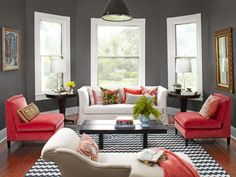 Delightful Colorful Living Room Concept Using Grey Wall Paint