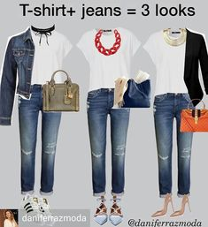 Even if you're a serious fashionista, there are some days when you just can't figure out a practical outfit that makes you look + feel… Mode Outfits, Jean Outfits, Chic Outfits, Fall Outfits, Fashion Outfits, Womens Fashion, Fashion Clothes, Style Fashion, Mode Ab 50