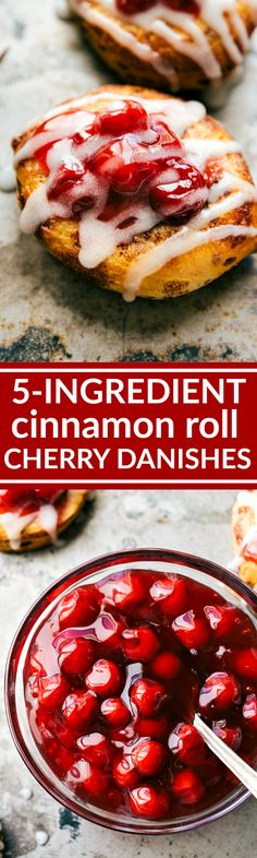 The easiest, 5-Ingredient, 30-minute (OR LESS) Cherry Danish Cinnamon Rolls! Recipe via chelseasmessyapron.com