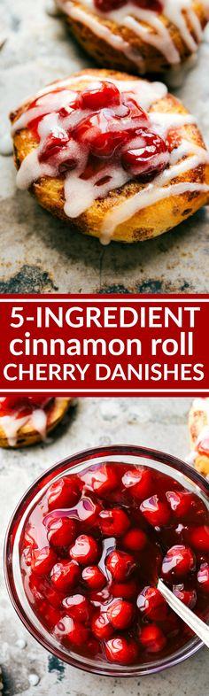 The easiest, 5-Ingredient, 30-minute (OR LESS) Cherry Danish Cinnamon Rolls! Recipe via chelseasmessyapron.com