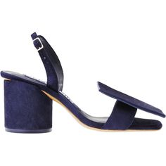Jacquemus Les Rond Carré ($290) ❤ liked on Polyvore featuring shoes, sandals, navy, navy blue suede shoes, navy suede shoes, navy shoes, navy sandals and suede shoes