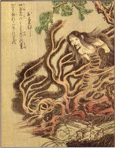 "Okiku-mushi / 於菊虫 from ""Ehon Hyaku monogatari"", 1841 by Takehara Shunsen || Okiku is a vengeful spirit from ""Bancho Sarayashiki"" kaidan story"