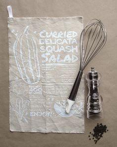Recipe Tea Towel - Curried Delicata Squash Salad. $10.00, via Add A Little Lemon's Etsy shop