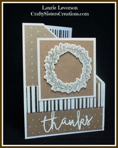 """Thank you card using Rustic Home Fundamentals paper, Thin Cuts """"thanks"""" and Wreath stamp and coordinated Thin Cut from Close To My Heart. www.craftysisterscreations.com"""
