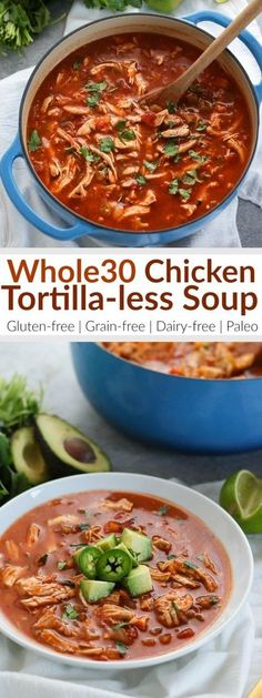Grab a spoon and some avocados...This hearty Chicken Tortilla-less Soup will have you coming back for seconds! Serves 8 | Whole30 | Paleo | Freezer-friendly