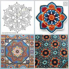 38 ideas crochet granny square pattern diagram afghans You are in the right place about crochet bebe Crochet Squares, Motif Mandala Crochet, Granny Square Crochet Pattern, Crochet Diagram, Granny Squares, Crochet Granny, Mandala Rug, Diy Crochet, Crochet Ideas