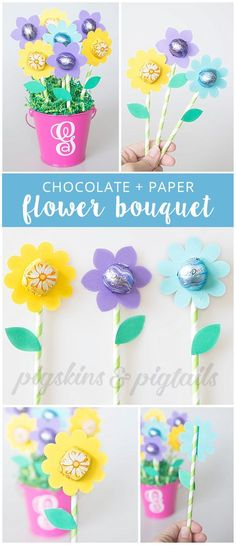 Teacher Appreciation Flower Gift with Dove Chocolates | Digital SVG cut file for the flowers available at pigskinsandpigtails.com