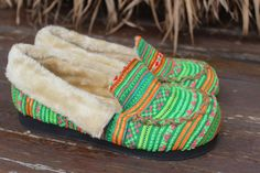 Womens Slippers Moccasin Style In Ethnic by SiameseDreamDesign