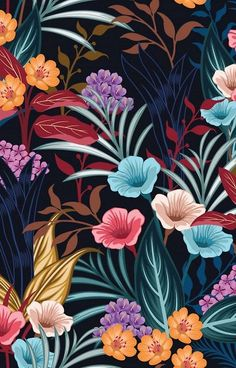 Floral pattern, warm rosy hues and deep teal. Illustrated botanical line art for packaging and branding. Art Floral, Floral Prints, Floral Patterns, Flower Wallpaper, Pattern Wallpaper, Dark Backgrounds, Wallpaper Backgrounds, Pattern Art, Pattern Design
